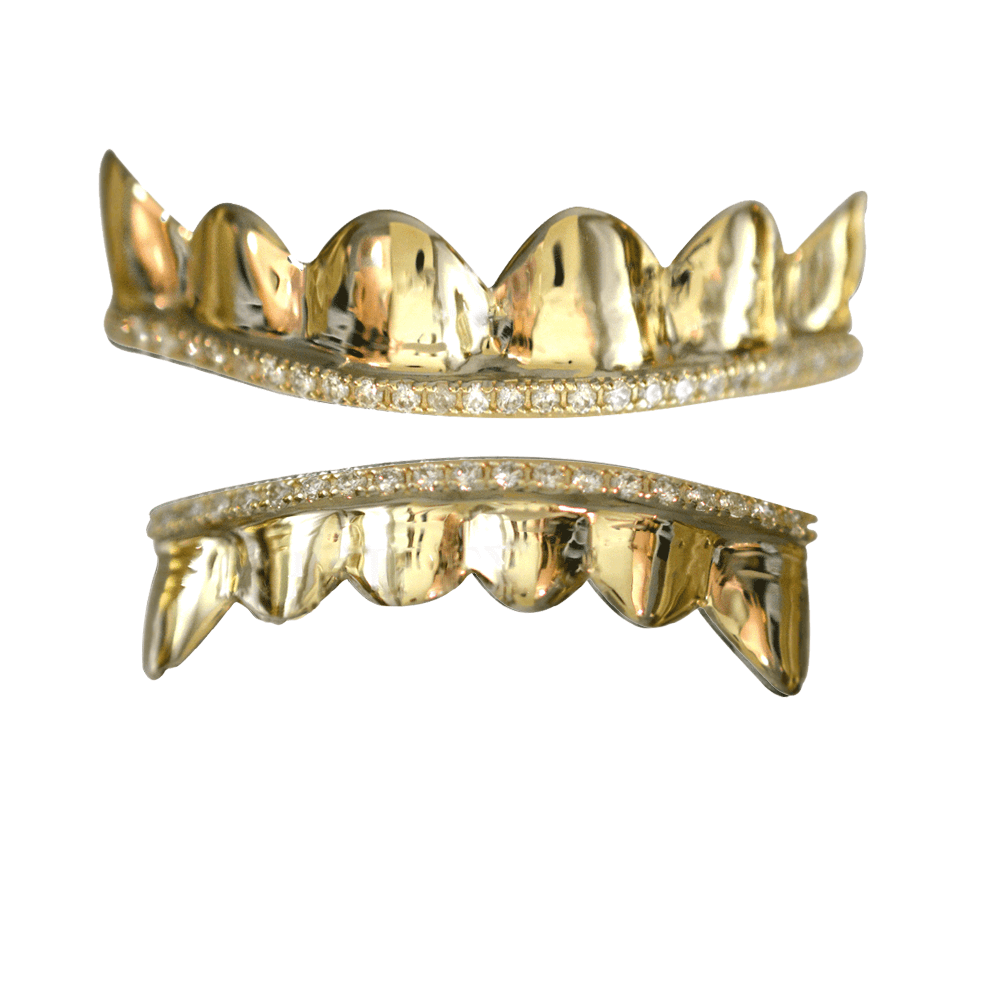 Gold 1 Row Channel Iced Out Set - Buy Gold Teeth 85432cdd0