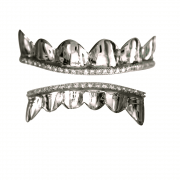 Silver Iced Out Top and Bottom Grillz