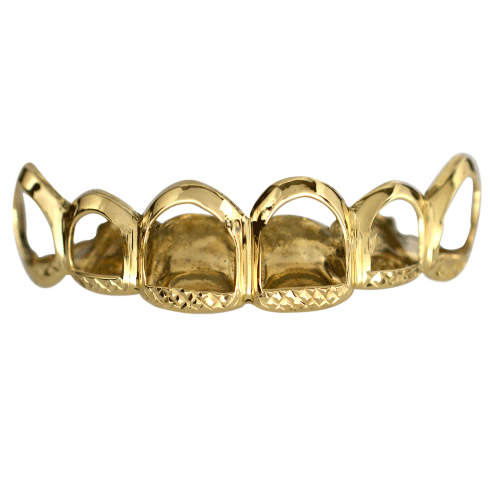 Gold Open Face With Diamond Cuts Set Buy Gold Teeth