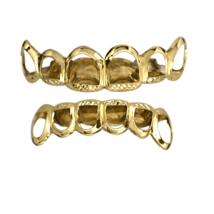 Gold Open Face Top and Bottom Grillz