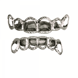Silver Open Face Top and Bottom Grillz