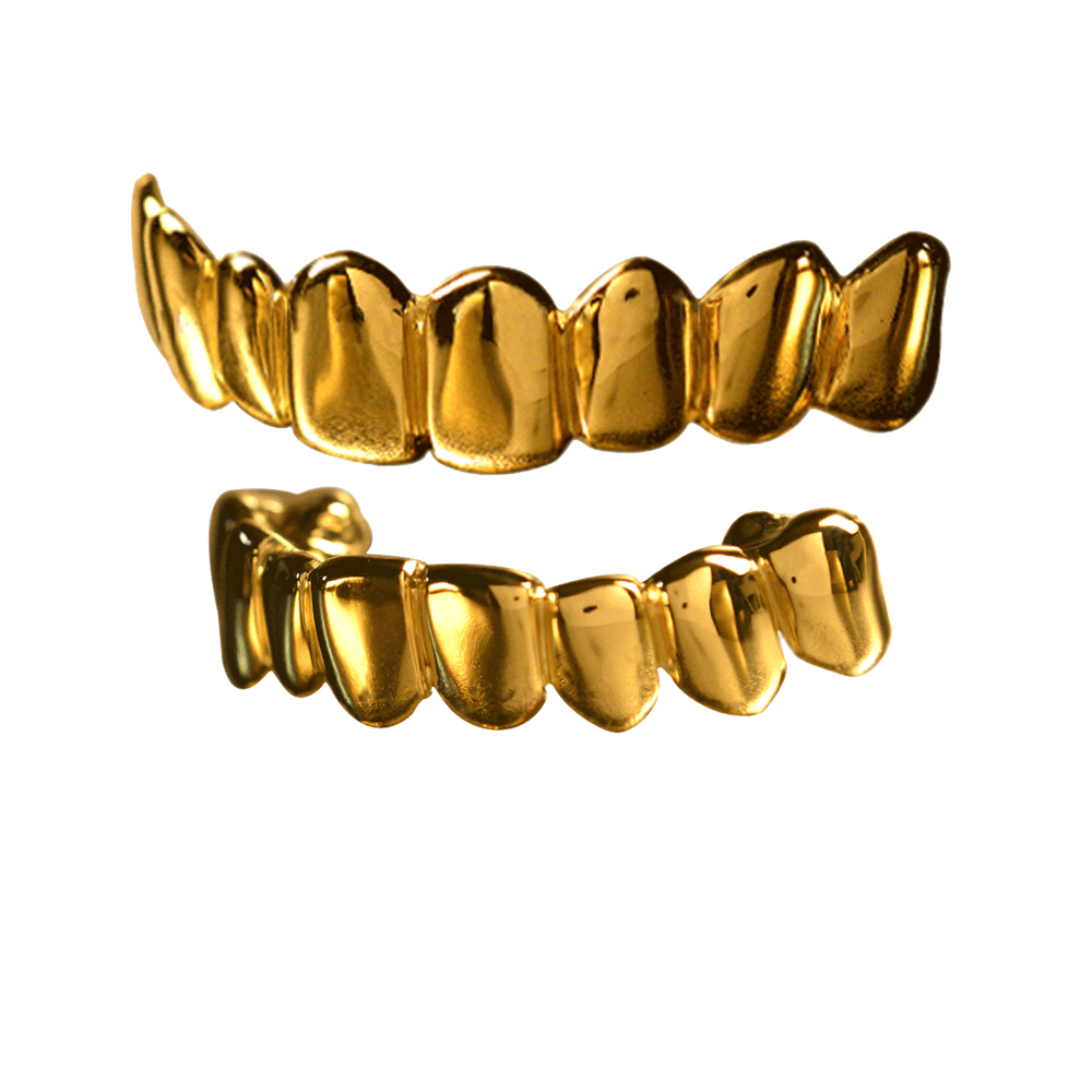 Gold Solid Deep Cuts Top and Bottom Grillz