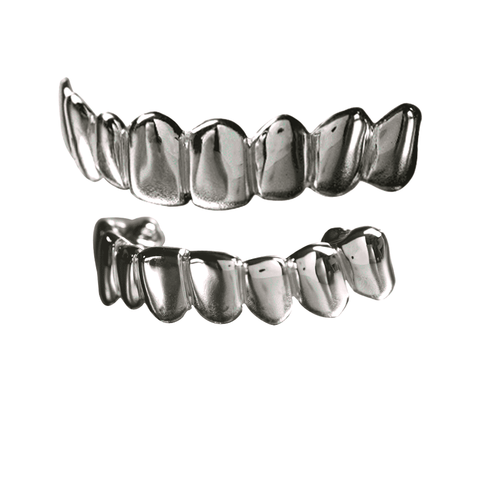 Silver Solid Deep Cuts Top and Bottom Grillz